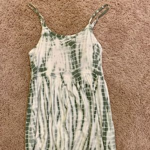 Tie dye green and white dress